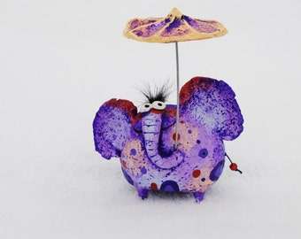 Elephant figurine, paper mache elephant sculpture
