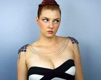 Shoulder Body Chain Necklace With Blue Rhinestones Wedding Jewelry