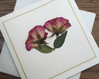 Red Rose Greeting Card / Roses / Pressed Flower Card / Real flowers / Pressed Roses / Dried Roses / Dried Flowers / Gifts for her