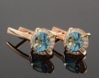 Dangle earrings, Topaz earrings, Halo earrings, Modern earrings, Round earrings, Gemstone earrings, Birthstone earrings, Geometric earrings