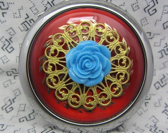 Compact Mirror Blue Rose Comes With Protective Pouch
