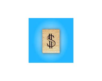 DOLLAR SIGN mounted money rubber stamp, Sweet Grass Stamps No.15