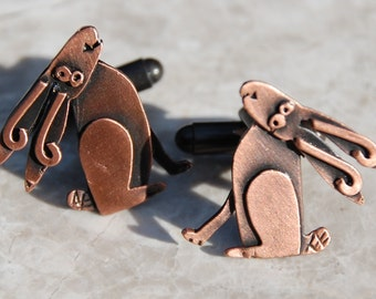 Hare cufflinks in copper finish