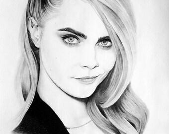Cara Delevingne Pencil Portrait