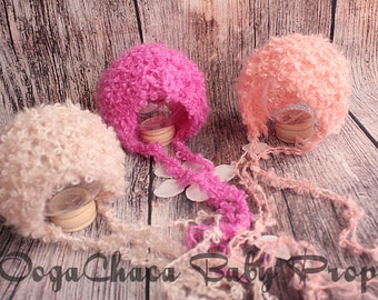 20%OFF* Newborn Bonnet, Newborn Girl Bonnet, Baby Girl Bonnet, Newborn Photo Prop, Baby Photo Prop, Wool Bonnet, Knit Bonnet