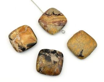4 yellow impression jasper puffed stone beads  / 20mm #PP020
