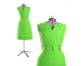 Green Dress, 1960s Vintage Dress, Mod Dress Green Vintage Dress, Womens Vintage Dress, Vintage Clothing, Size small Dress
