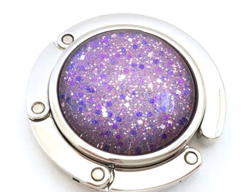 Glamorous Purple Purse Hook, Purse Hanger // Hand painted Glitter Nail Polish, Purse Accessory, Foldable Purse Hook, Nail Polish Jewelry