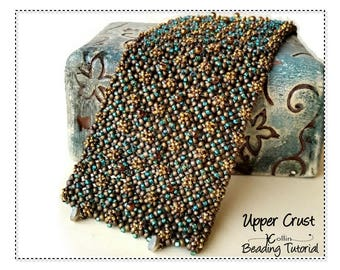 Pondo Stitch Cuff Beading Pattern, Wide Cuff beading Instructions, Tutorials, African Circle Stitch, Seed Bead Jewellery Pattern UPPER CRUST