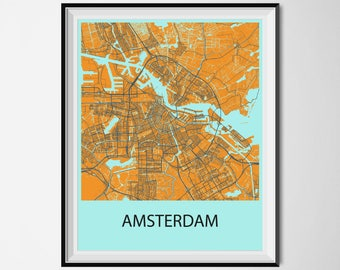 Amsterdam Map Poster Print - Orange and Blue