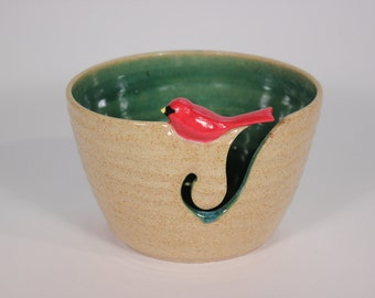 Little Bird Yarn Bowl, Cardinal Yarn Bowl, Yarn Bowl