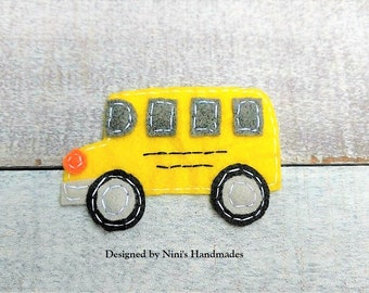 Kids School Bus inspired Iron On Felt Applique, Customize Your Applique, Iron on Kids Apparel Crafts or more felt patch, Van Bus iron on