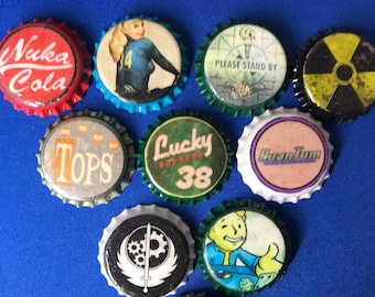 Fallout Inspired Bottlecap Magnet Set (Weathered and New Styles) - 10 Bottlecap Magnets