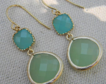 Aqua Blue and Mint Green Dangle Earrings Framed in Gold, Bride, Wedding, Bridesmaid Gift, Mint Wedding