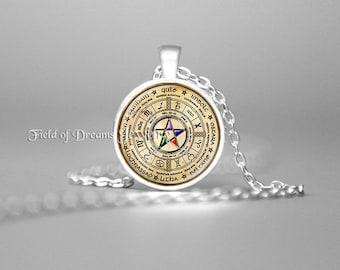 GOLD WICCAN PENTAGRAM Necklace Pentagram Jewelry Wicca Necklace Wicca Pagan Religion Wiccan Wheel Celtic Wheel Zodiac Elemental Pentacle