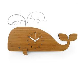 Modern Wall Clock whale bamboo eco friendly
