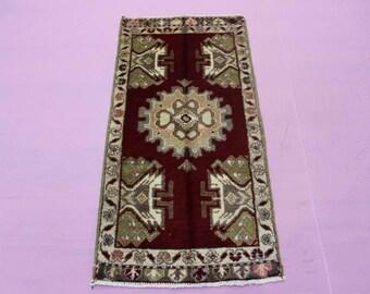 """1'10"""" x 3'8"""" Turkish Oushak Rug, Doormat Rug, Turkish Small Rug"""