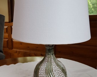 Handmade Pottery Lamp, Accent Lamp, White and Grey, Carved, Small, Functional Art @CD