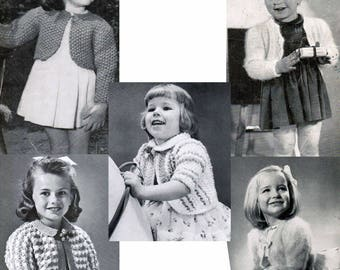 Vintage Girl's Bolero Knitting Patterns PDF (set of 5) / Bolero sweater patterns / Vintage bolero pattern / girls vest / girls sweater
