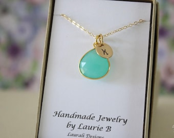 9 Monogram Bridesmaid Necklace Green, Bridesmaid Gift, Sea Foam Gemstone, Gold, Initial Jewelry, Personalized, Initial Charm
