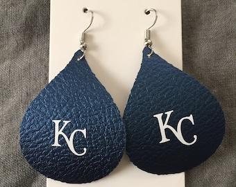 KC Kansas City  Royals faux leather teardrop earrings