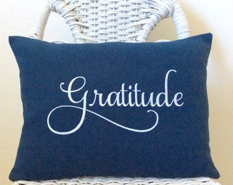 Gratitude Pillow INSERT INCLUDED Inspirational Pillow . Word Pillow Choose your  Fabric Color.