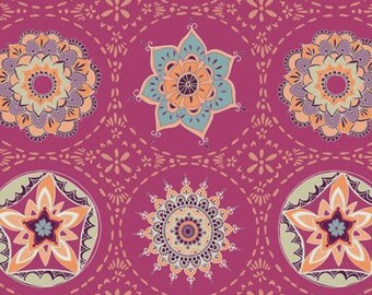 Art Gallery Fabric  Soulful collection Mandala Harmony Vivid boho fabric plum fabric Indian inspired fabric boho fabric