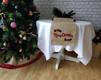 Burlap Table Runner  Holiday decor Christmas Table decor Traditional runner Wide 30 cm 12 inch x 200 cm / 79 inch (6.5 feet)