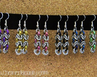 Byzantine Rose Chainmaille Earrings
