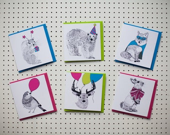 Pack of 6 Party Animal themed Greetings cards