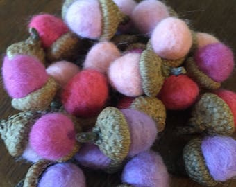 Pretty Pinks - Choose 10 Felted Acorns Dusty Rose, Lavender, Pink, Peach, Raspberry - Woodland Home Decor