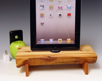 Natural  log slice docking station with wall charger for ANY iPad, Mini or iPhone. 537. Live edge Pinion Pine and Black Cherry. NICE.