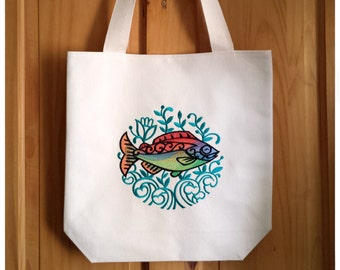 Rainbow Fish Tote Bag Embroidered Canvas - Multicoloured Teal Shopping Bag Folk Art Boho Chic Pisces Pride Gift, Trout Bag For Life, 2987