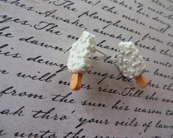 White Resin Ice Cream Bar Post Earrings