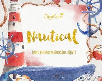 Nautical Clipart, Hand Painted Watercolor - Seaside Clip art, Summer Wedding Invitation, Nautical Graphics