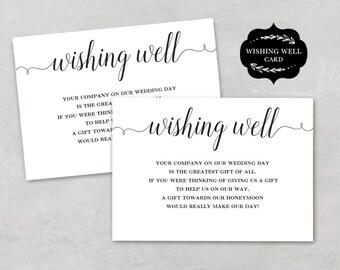 "Wishing Well Card Template, Printable Wishing Well Card, DIY Wishing Well Cards, Editable Text, 3.5""x5"", WW001, VW02"
