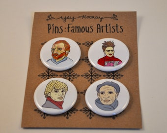 Famous Artists, pin button badges, magnets hand drawn illustrations, pablo picasso, frida kahlo, vincent van gogh, andy warhol