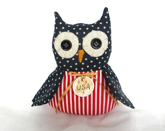 Prim Owl decor | Patriotic Hoot Owl | 4th of July decor | Red white blue Owl | USA decor | Americana Owl | Patriotic decor | Primitive decor