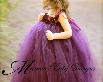 Flower Girl Tutu Dress / Eggplant Flower Girl Dress / Plum Flower Girl Dress / Eggplant Tutu Dress / Plum Tutu Dress