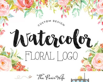 Individuelles Logo-Design Aquarell Logo design floral Logo Entwurf Restaurant Logo Wordpress Webseite Logo Blog Logo Boutique Logo branding 標誌設計