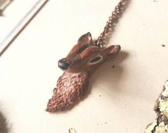 Doe Deer Necklace, Deer Jewelry, Polymer Clay Necklace,Wearable Art, OOAK, Woodland Wedding Jewelry, Gift for her