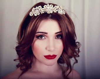Art deco tiara - Vintage style headpiece , wedding tiara Crown , bridal tiara , Bridal accessory - tiara