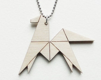 Origami horse necklace ~ Laser cut from birch wood ~ Geometric pendant ~ Gift boxed