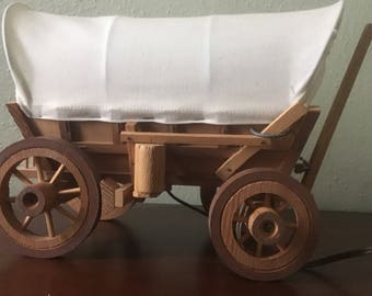 Vintage Covered Wagon Accent Lamp