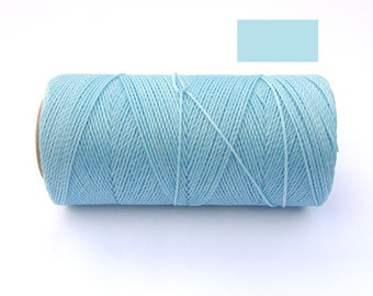 Waxed Polyester Cord - Linhasita - Waxed Cord - BABY BLUE - Spool of 188 yards