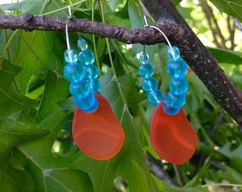 Ocean Hues Sea Glass Hoop Earrings