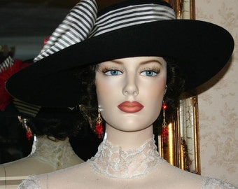 Kentucky Derby Hat Edwardian Ascot Hat Downton Abbey Hat Titanic Tea Party Hat Women's Black Hat Wide Brim Hat - Lady Olivia
