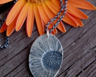 Ready to Ship : He Loves Me - Pressed Daisy Necklace in Fine Silver with Sterling Box Chain - OOAK