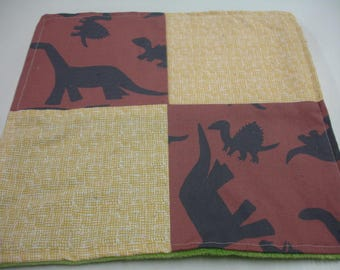 Brown Dinosaurs Four Square Baby Minky Burp Cloth 12 x 12 READY TO SHIP