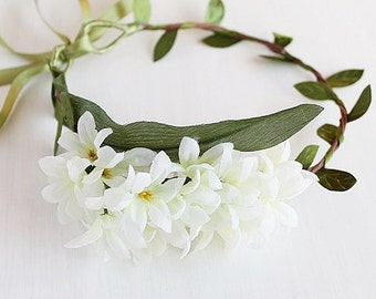 Ivory Bridal Crown, Woodland Headband, Boho Flower Crown, Floral Halo, Bridal Flower Crown, Flower Girl Crown, Festival Crown, Hair Garland